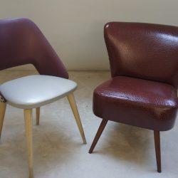 Fauteuil et chaise cocktail simili cuir