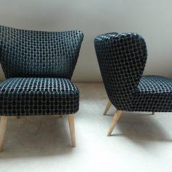 fauteuil cocktail vintage annes 50 noir et bleu - Fauteuil Cocktail Vintage
