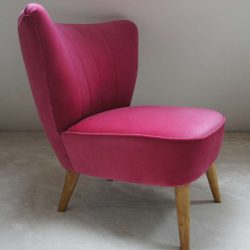 Fauteuil cocktail velours rose