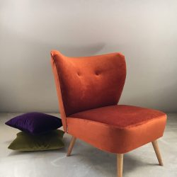 Fauteuil cocktail velours orange cuivré