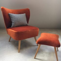 Fauteuil cocktail velours orange