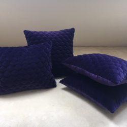 Coussin velours matelassé violet