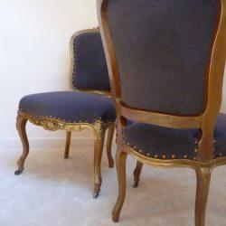 Paire de chaises Louis XV couleur bronze