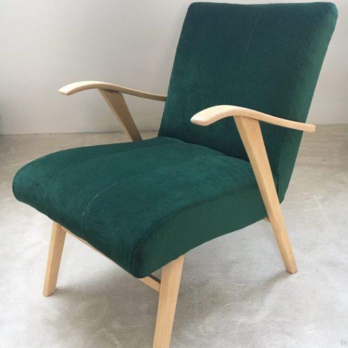 Fauteuil vintage velours vert
