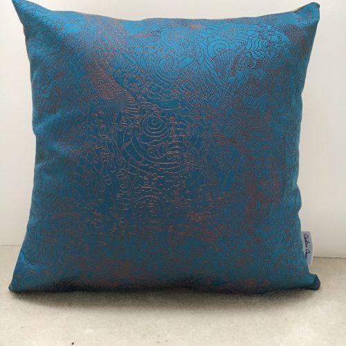 Coussin bleu tissu Jean Paul Gaultier